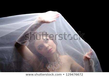 Menyasszony fátyol ázsiai szabadtér reggel arany Stock fotó © szefei
