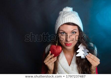 nők · tart · egy · vörös · ruha · kezek · együtt - stock fotó © elenabatkova