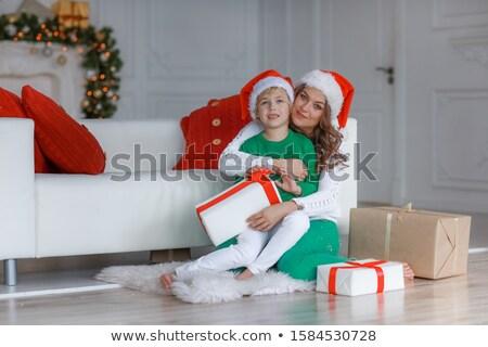 Anya fiú új évek jó hangulat pózol Stock fotó © ElenaBatkova
