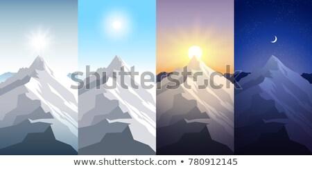 Nacht alpinisme illustratie man sneeuw maan Stockfoto © adrenalina