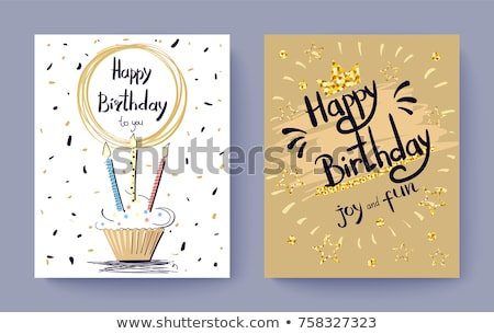 Birthday Cake Decorated With Stars Poster Vector Stock photo © pikepicture