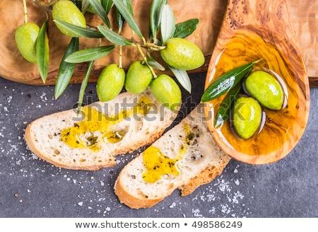Olijfolie Italiaans witbrood glas fles houten Stockfoto © Alex9500