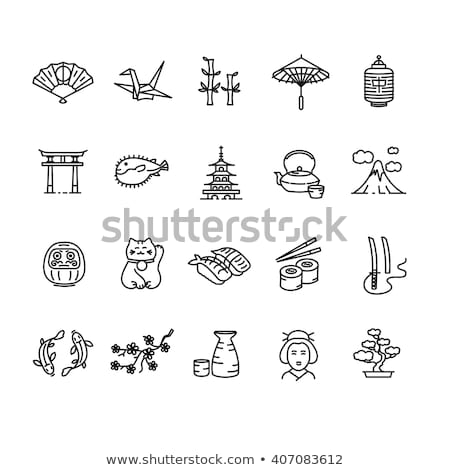 Japan pagoda, geisha, sushi, Asian lantern icons Stock photo © anbuch