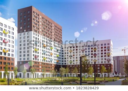 Modern toronyház lakás épületek München Németország Stock fotó © elxeneize