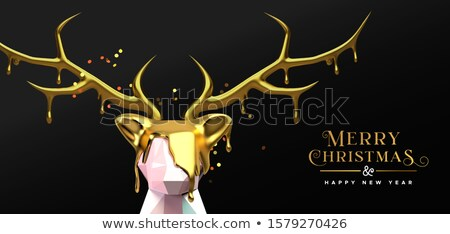 Christmas New Year 3d melted gold low poly deer  Stock photo © cienpies