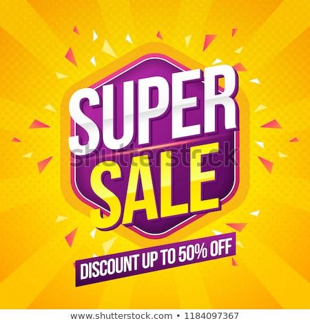 Compras promoção super venda adesivo vetor Foto stock © robuart