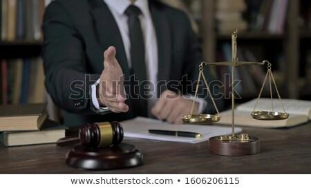 Advogado oferta aperto de mão secretária terno Foto stock © AndreyPopov