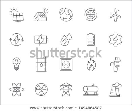 ökológiai elektromos erőmű ikon vektor skicc illusztráció Stock fotó © pikepicture