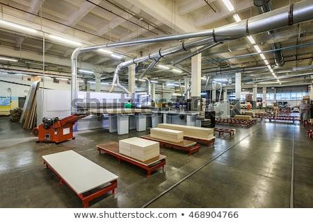 Produção departamento mobiliário fábrica árvore madeira Foto stock © olira