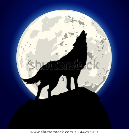Mountain in Howling Wild Wolf Silhouette Cartoon Stock photo © barsrsind