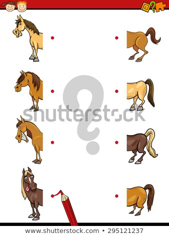 Cartoon Vector Illustration of Education Halves Matching Game for Children Stock photo © natali_brill
