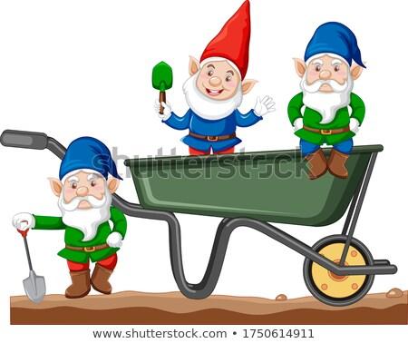 Gnomes with haul cart cartoon style on white background Stock photo © bluering