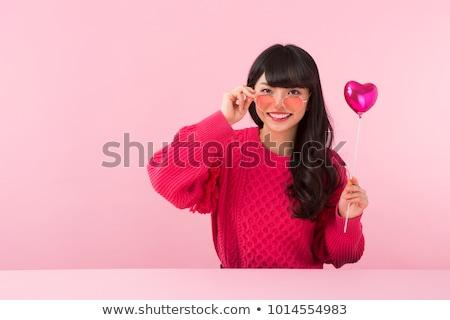 ázsiai nő napszemüveg nyár valentin nap szemüveg Stock fotó © dolgachov