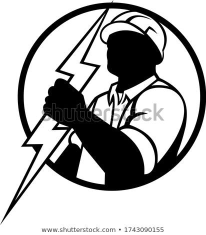 電気 稲妻 マスコット サークル 黒白 ストックフォト © patrimonio