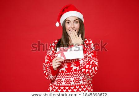 portré · boldog · nő · tart · ajándék · kéz - stock fotó © iko