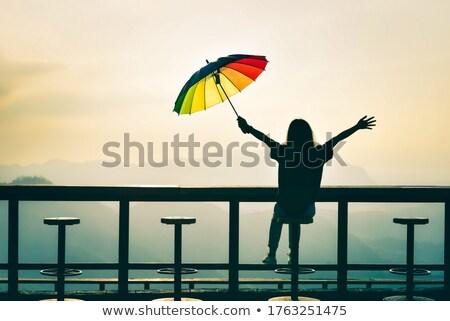 Parapluies coucher du soleil vide plage très tôt Photo stock © fyletto