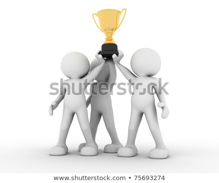 3d human icon holding golden trophy Stock photo © dacasdo