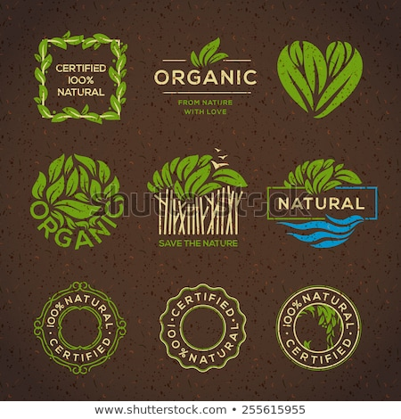 Set of stamps for organic food Stock photo © orson