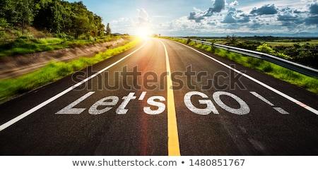 yol · işareti · kararlar · mavi · gökyüzü · mavi - stok fotoğraf © pressmaster