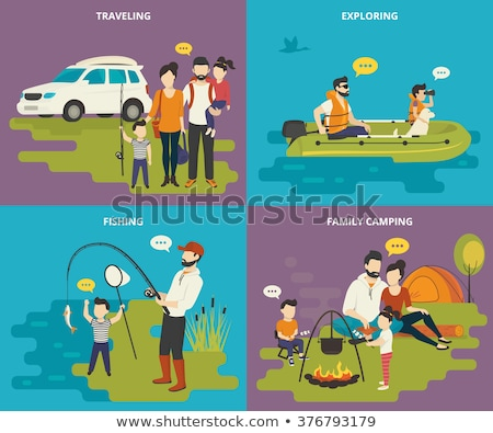 Father with son in inflatable boat Stock photo © Paha_L
