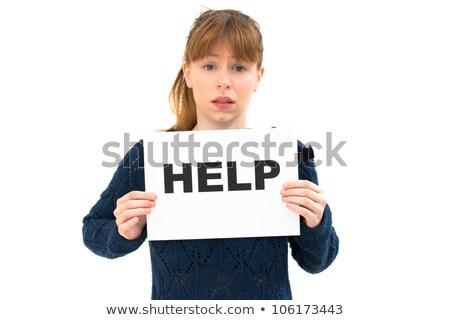 需要 · 幫助 · 肖像 · 年輕女子 · 板 · 女子 - 商業照片 © ilolab