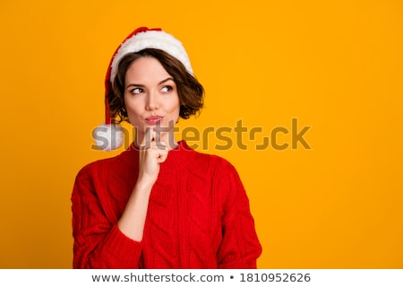 thinking winter woman isolated stock photo © maridav