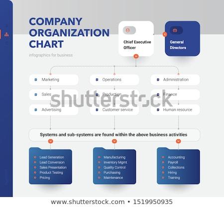 empresarial · jerarquía · diagrama · de · flujo · diagrama · azul · tecnología - foto stock © ansonstock