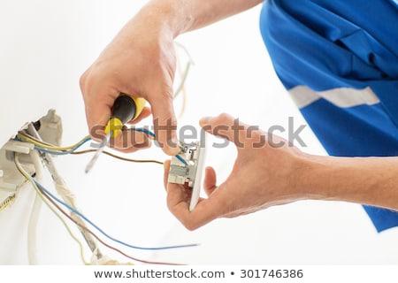 Elektryk pracy ziemi kuchnia niebieski Zdjęcia stock © photography33