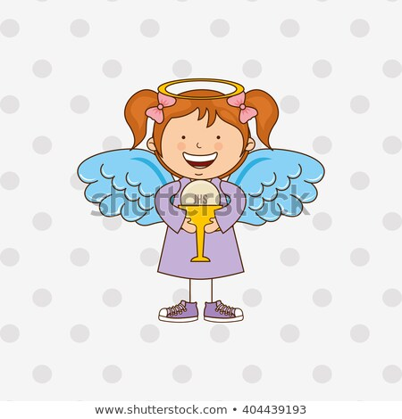 ange · première · communion · carte · parchemin · enfants · enfant - photo stock © marimorena