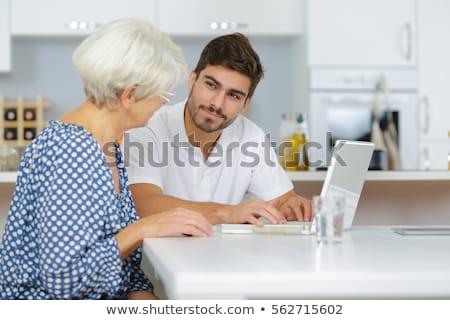 человека старушку компьютер экране молодежи Сток-фото © photography33