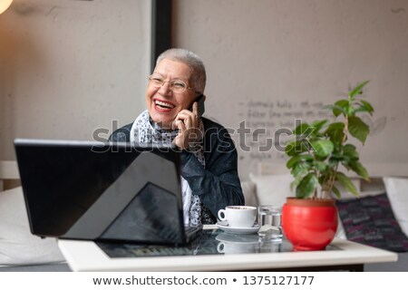 старший питьевой кофе Nice кофейня человека Сток-фото © photography33