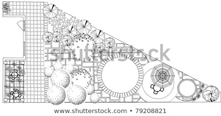 ストックフォト: 計画 · 庭園 · 黒白 · シンボル · ツリー · 水