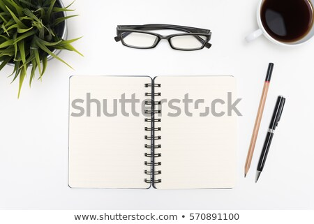 opened book with eye glasses and pen isolated on white backgroun Stock photo © pinkblue