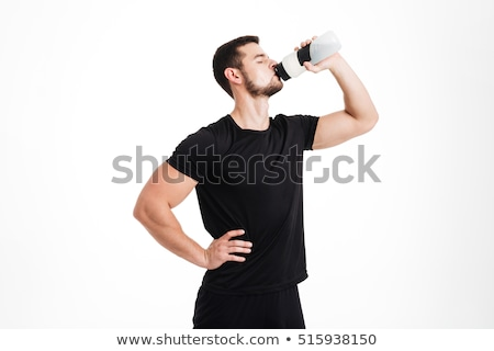 shirtless man drinking from water bottle stock photo © photography33