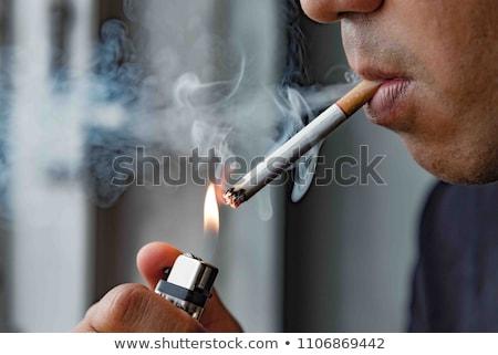 Foto stock: Moço · cigarro · cara · feliz · fumar