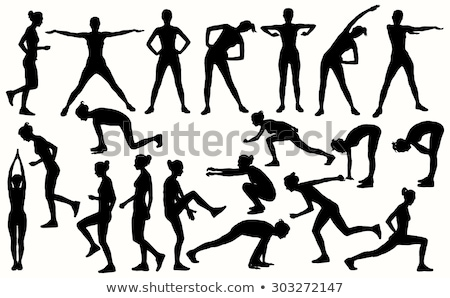 Stretch aerobics silhouettes set Stock photo © Kaludov