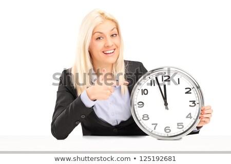 Foto stock: Tiro · jóvenes · mujer · de · negocios · reloj · aislado
