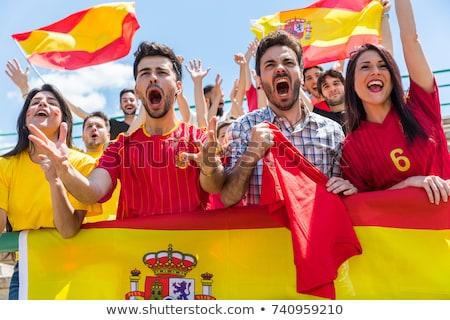 Espanhol futebol fãs cantando sorrir cara Foto stock © photography33