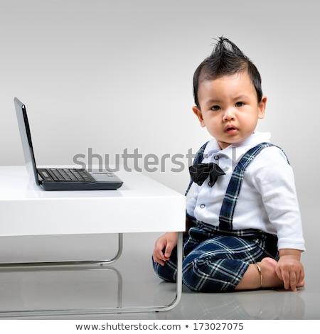 Baby laptop computer grijs jonge kind houten Stockfoto © gewoldi