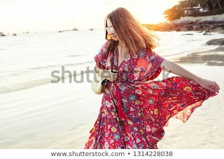jonge · vrouw · lang · zomer · jurk · geïsoleerd - stockfoto © grafvision