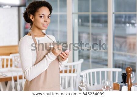 ウエートレス · 注文 · 紙 · 手 · 女性 · ペン - ストックフォト © lisafx