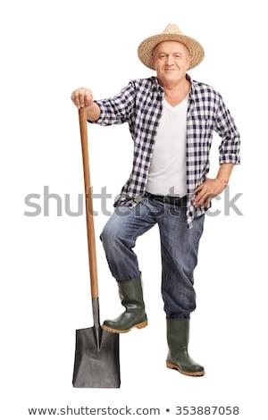 Handbuch Arbeitnehmer halten Schraubenschlüssel Bau Hintergrund Stock foto © photography33
