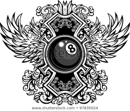 Billiards Eight Ball With Ornate Wings Vector Illustration Foto stock © ChromaCo