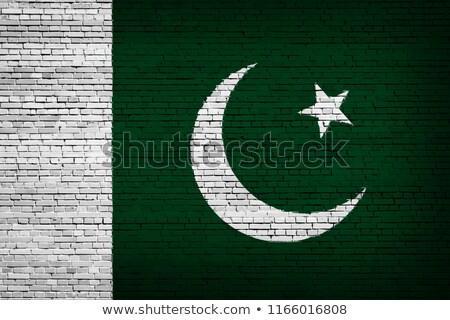 Zászló Pakisztán téglafal festett grunge textúra Stock fotó © creisinger