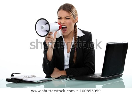 businesswoman shouting angrily with loudspeaker and laptop Stock photo © photography33