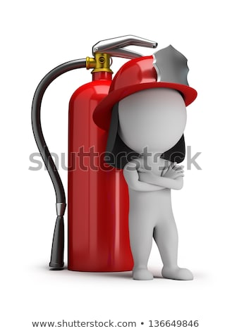 Stock photo: 3d small people - fireman and a large extinguisher