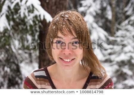 Nő fagyos smink fúj érzéki nők Stock fotó © tobkatrina