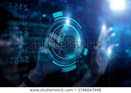 Grafik · touch · Geschäftsmann · anfassen · Bildschirm · grau - stock foto © matteobragaglio