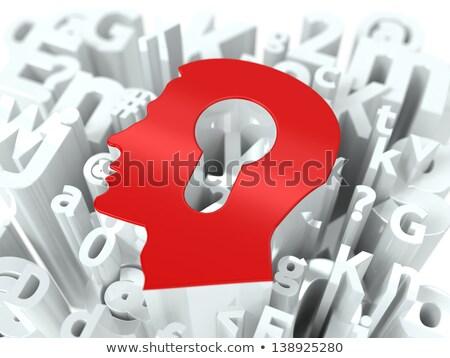 Kafa anahtar deliği alfabe eğitim bilgisayar adam Stok fotoğraf © tashatuvango