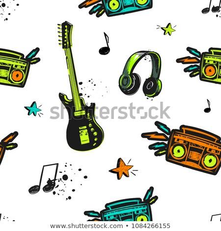 Soyut gitar parti arka plan mikrofon yaz Stok fotoğraf © rioillustrator
